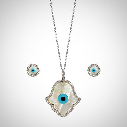 PALM NATURAL WHITE SHELL EVIL EYE- STERLING SILVER SET2113
