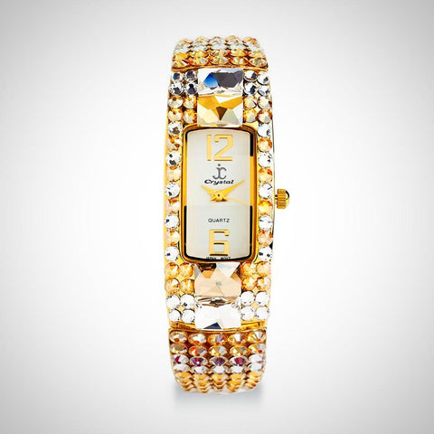 embellished elegant watch silver large tone details york on watches bezel jimmy gold crystals town small accents swarovski sparkling crystal both bangle wj collections the side new cape featuring