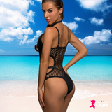 Black Sheer Knit Mesh One Piece Swimsuit | Lascivious Lady Online Store