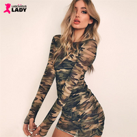 Camo Print Long Sleeve See Through Mesh Bodycon Dress | Lascivious Lady Online Store