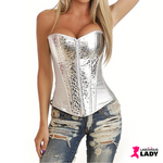 Faux Leather Overbust Corset | Size S to XXL | Silver | Lascivious Lady Online Store