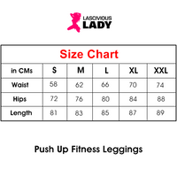 Push Up Fitness Leggings - Quick Dry Elastic - Size Chart - Lascivious Lady Online Store