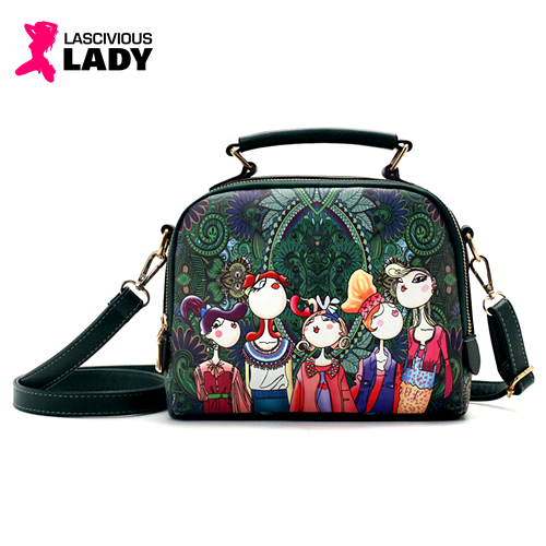 Quirky Cartoon Print PU Leather Shoulder Bag - Lascivious Lady Online Store