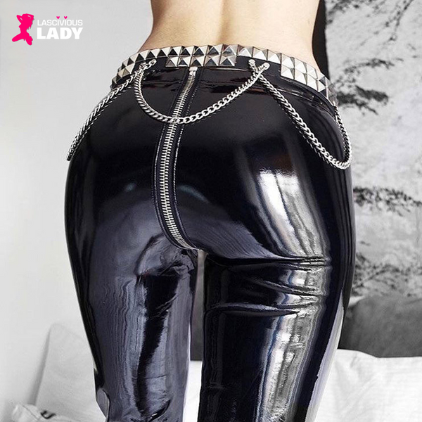 Sexy Faux Leather Leggings with Complete Front to Back Zipper | Lascivious Lady Online Store