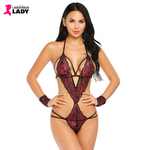 Sexy Hollow Sides Strappy Bodysuit with Wristcuffs | Lascivious Lady Online Store
