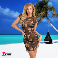 Sexy Sheer Camouflage Print Slim Fit Dress with Side Slit | Lascivious Lady Online Store