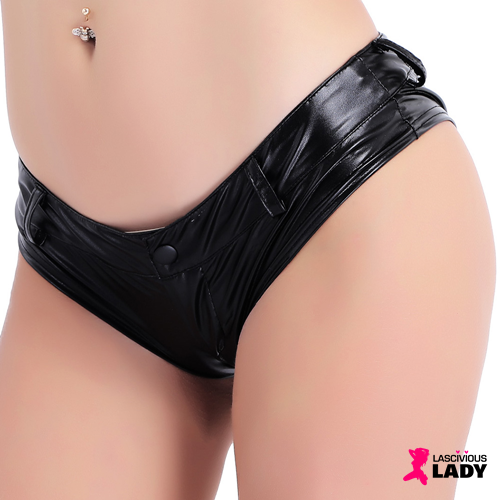 Skimpy Black Faux Leather Mini Shorts | Front Zipper | Low Waist | Lascivious Lady Online Store