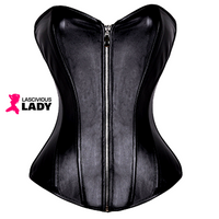Steampunk Corset - Steelboned - Black Leather - Lascivious Lady Online Store
