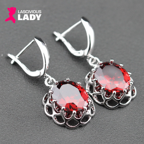 Silver Sparkling Red Garnet Drop Earrings - Lascivious Lady Online Store