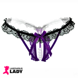 Supersexy Lace Crotchless G-String with Pearl Bead detail - Lascivious Lady Online Store