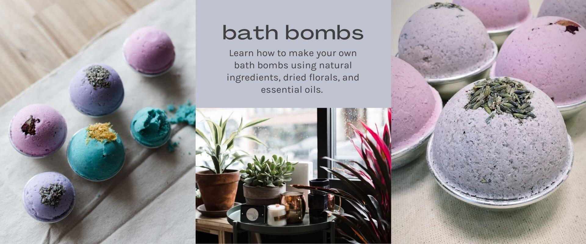 text- bath bombs image- light pink and purple bath bombs on canvas background