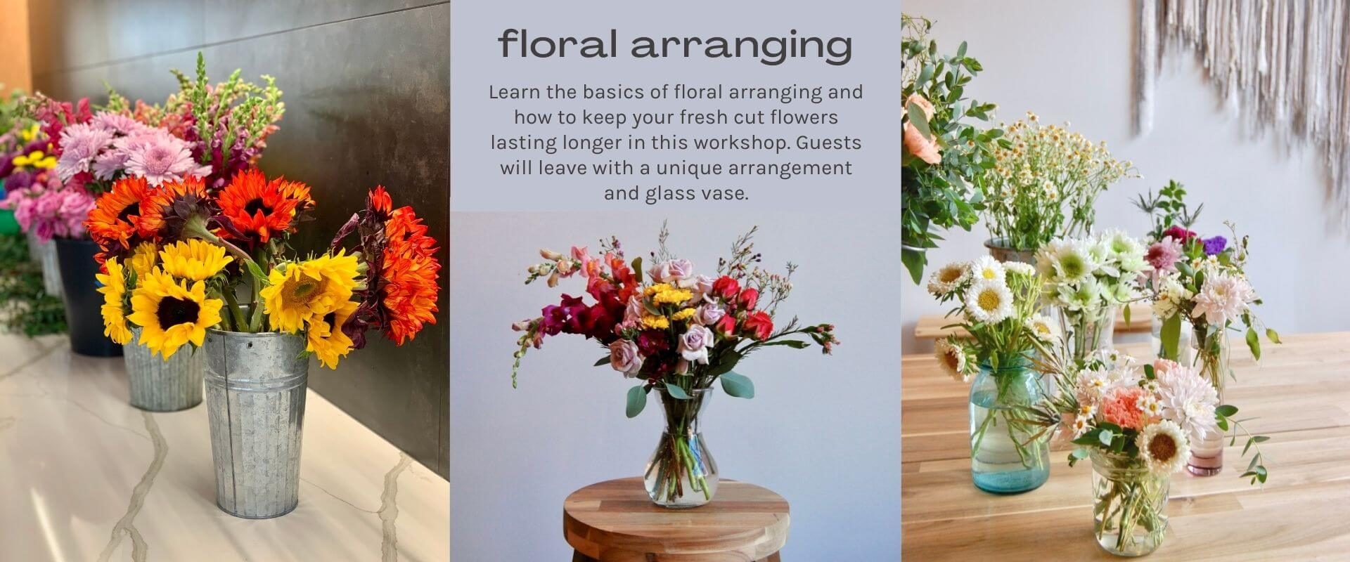 floral arranging text on lavender background - image yellow and orange sunflowers and assorted flowers in glass vases