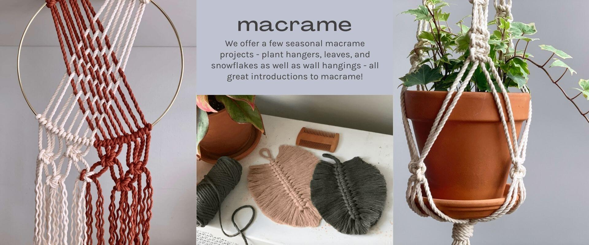 macrame projects - images of white and copper wall hanging, blush and green leaves, and white plant hanger with terracotta pot