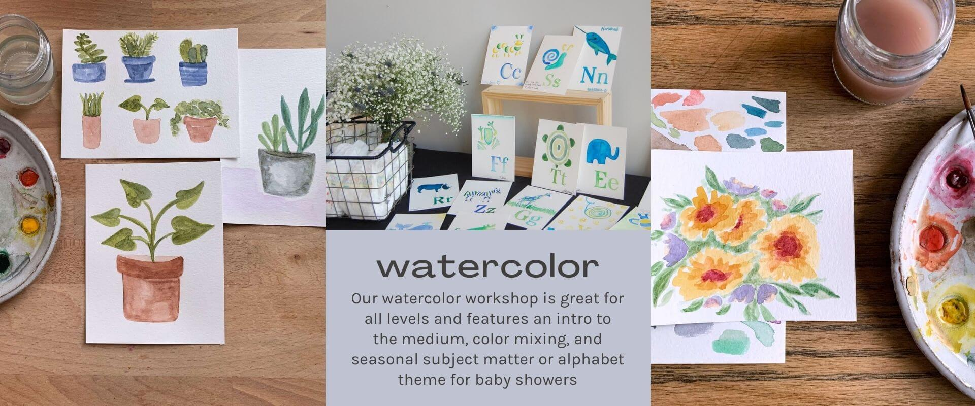 watercolor text on lavender background. watercolor paintings of flowers and plants