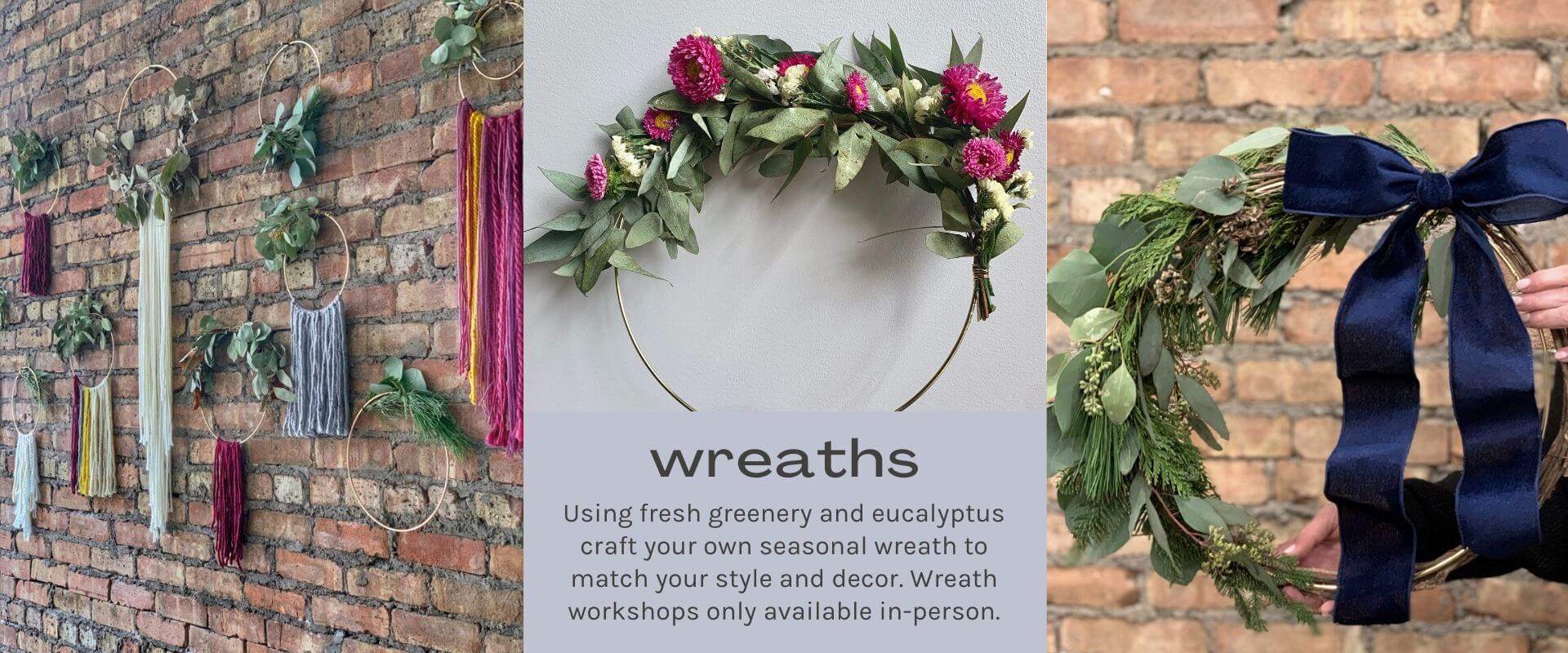 text-wreaths image-greenery and eucalyptus on brass rings and brick wall background