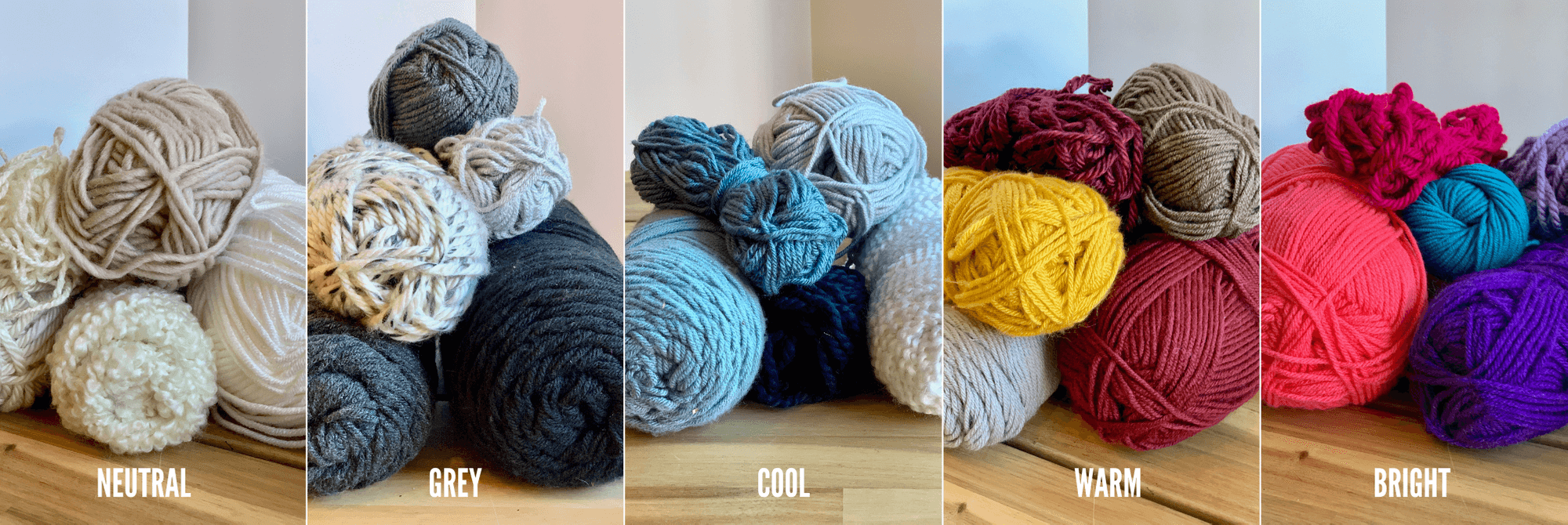 yarn wall hangings - color palettes - neutral-grey-cool-warm-bright