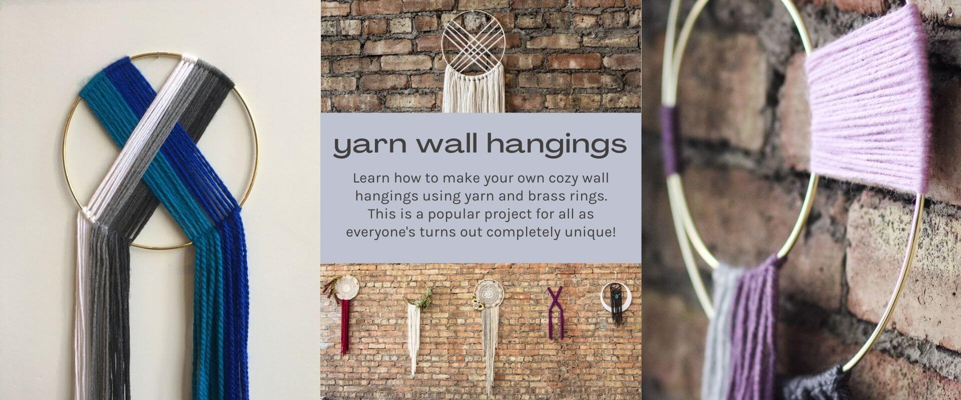 text-yarn wall hanging -images-brass rings with yarn on brick wall