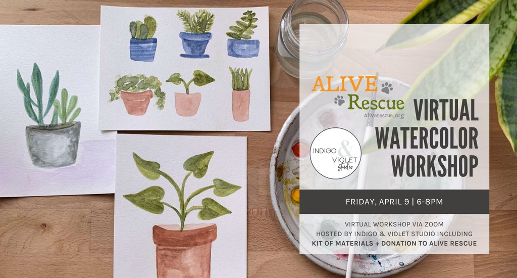 Indigo & Violet Studio - Alive Rescue - Virtual Watercolor Workshop + Craft Kit-April 9- watercolor plants + palette on wood background