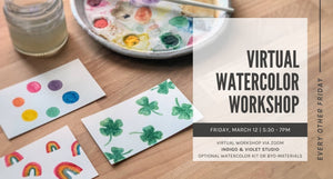 indigo & violet studio-virtual watercolor workshop March 12 - paintings of clovers and rainbows and paint palette