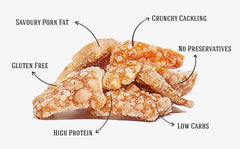 6x 100g - PORK SCRATCHINGS - PORK CRACKLE | PASCAL'S PORK SCRATCHINGS - Tassie Supps - Snacks