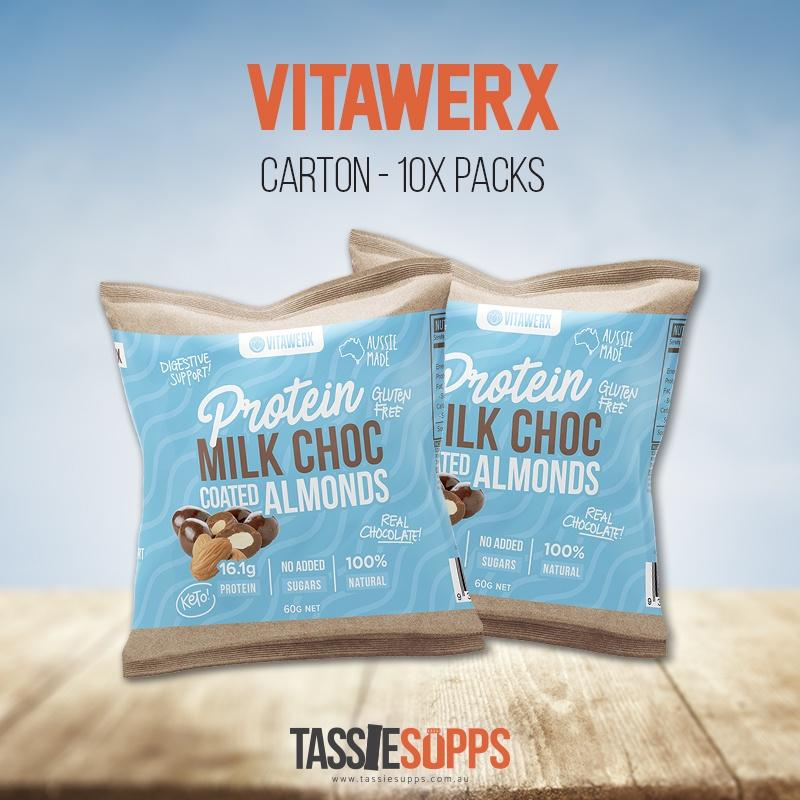 ALMONDS PROTEIN CHOCOLATE COATED ALMONDS - CARTON | VITAWERX - Tassie Supps - Snacks