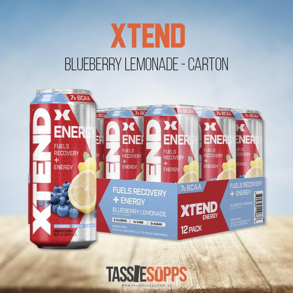BLUEBERRY - CARTON - XTEND BCAA ENERGY - CARBONATED | XTEND - Tassie Supps - Ready To Drink (RTD)
