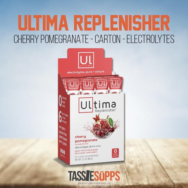 CHERRY POMEGRANATE - STICK PACK CARTON - KETO ELECTROLYTES + TRACE MINERALS | ULTIMA REPLENISHER - Tassie Supps - KETO