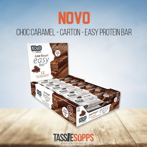 CHOC CARAMEL - CARTON - EASY BAR - LOW SUGAR HIGH PROTEIN BAR | NOVO - Tassie Supps - Snacks