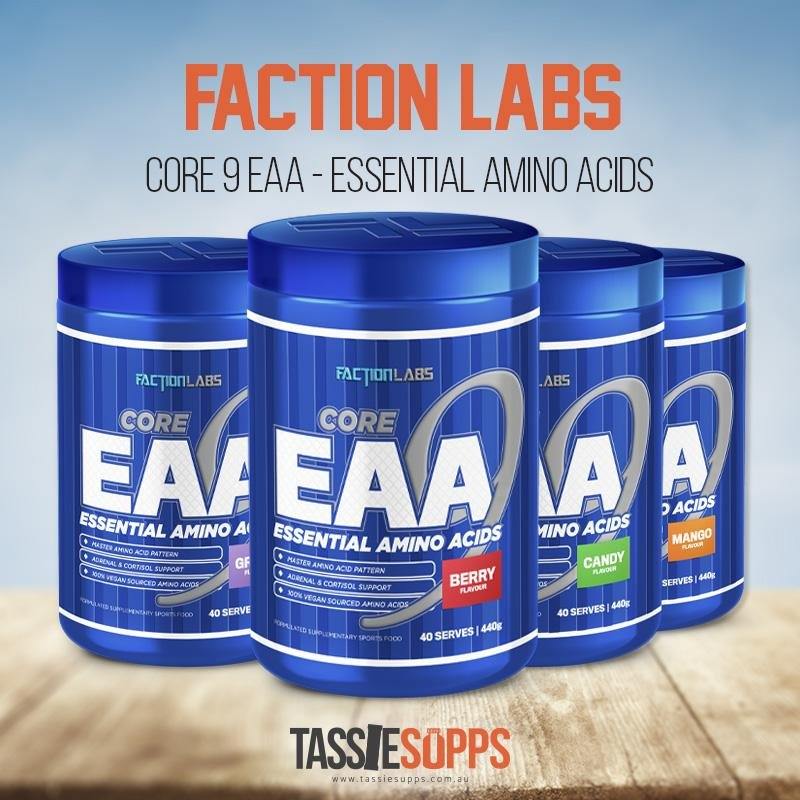 CORE EAA 9 - ESSENTIAL AMINO ACIDS | FACTION LABS - Tassie Supps - AMINO's