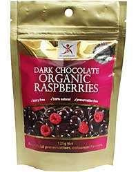 Dark Chocolate Organic Raspberries 125g - Tassie Supps - PANTRY