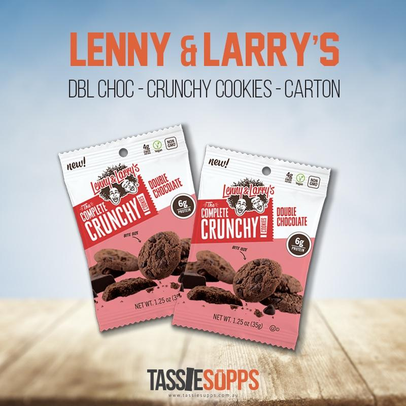 DBL CHOC 35G - CARTON - CRUNCHY COOKIES - PROTEIN COOKIES | LENNY & LARRY'S - Tassie Supps - Snacks