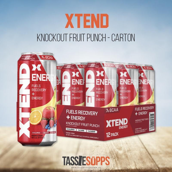FRUIT PUNCH - CARTON - XTEND BCAA ENERGY - CARBONATED | XTEND - Tassie Supps - Ready To Drink (RTD)