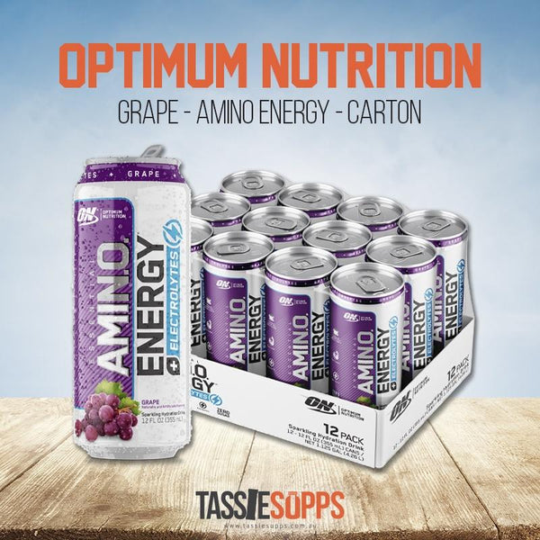 GRAPE - CARTON - AMINO ENERGY - SPARKLING CANS | OPTIMUM NUTRITION - Tassie Supps - Ready To Drink (RTD)