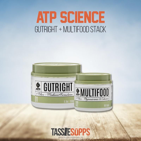 GUTHEALTH STACK - GUTRIGHT + MULTIFOOD | ATP SCIENCE - Tassie Supps - GUT HEALTH / GREENS / ETC