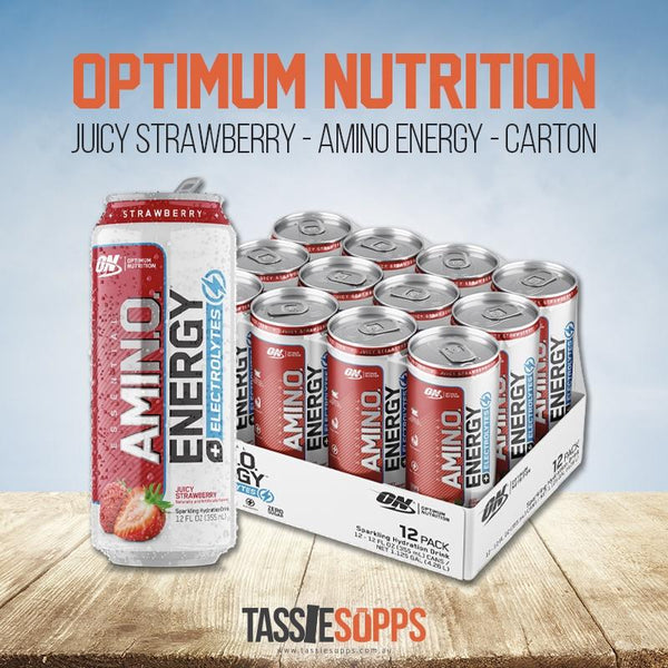 JUICY STRAWBERRY - CARTON - AMINO ENERGY - SPARKLING CANS | OPTIMUM NUTRITION - Tassie Supps - Ready To Drink (RTD)