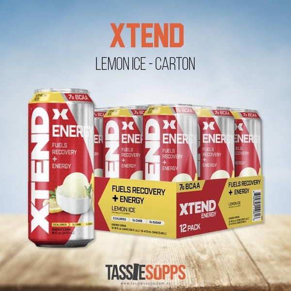 LEMON ICE - CARTON - XTEND BCAA ENERGY - CARBONATED | XTEND - Tassie Supps - Ready To Drink (RTD)