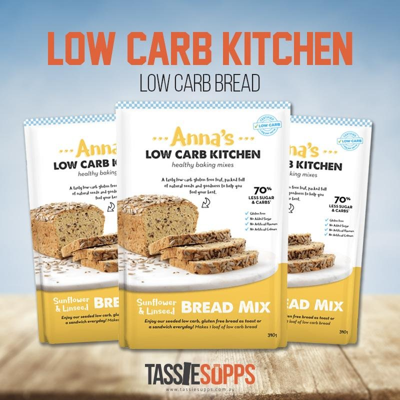 LOW CARB SUNFLOWER & LINSEED BREAD MIX | ANNA'S LOW CARB KITCHEN - Tassie Supps - PANTRY