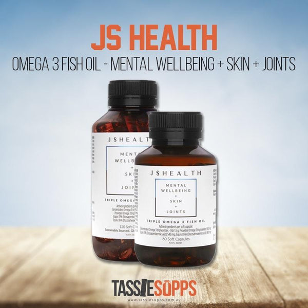 MENTAL WELLBEING + SKIN HEALTH + JOINT HEALTH - TRIPLE OMEGA 3 FISH OIL | JS HEALTH VITAMINS - Tassie Supps - Vitamin's | Tablets