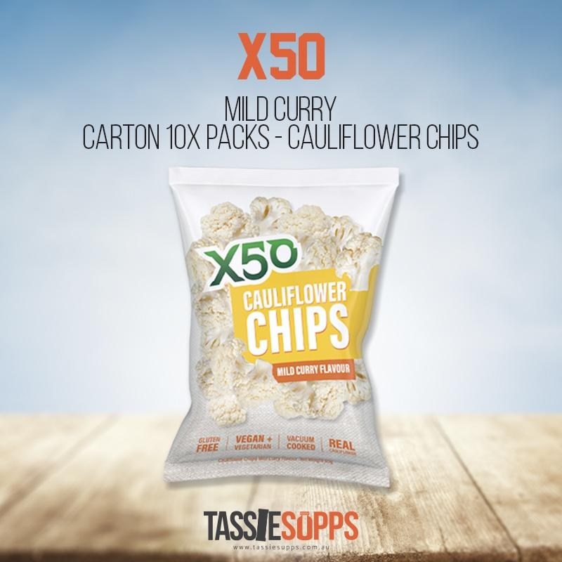 MILD CURRY - CARTON 10x PACKS CAULIFLOWER CHIPS | X50 - Tassie Supps - Snacks