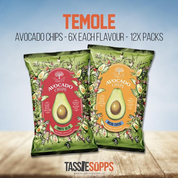 MIXED CARTON - 6X EACH FLAVOUR - 12X PACKS - AVOCADO CHIPS | TEMOLE - Tassie Supps - Snacks