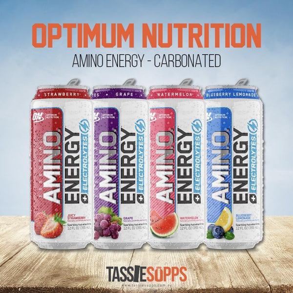 *NEW FLAVOURS* AMINO ENERGY - SPARKLING CANS | OPTIMUM NUTRITION - Tassie Supps - Ready To Drink (RTD)