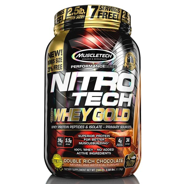 NITRO TECH 100% WHEY GOLD 2.5LB | MUSCLETECH - Tassie Supps - PROTEIN - DAIRY BASED