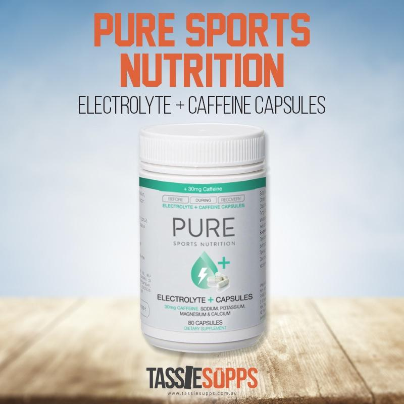 PURE ELECTROLYTE REPLACEMENT + 30MG CAFFEINE - CAPSULES| PURE SPORTS NUTRITION - Tassie Supps - ENDURANCE / CARBOHYDRATE BLEND