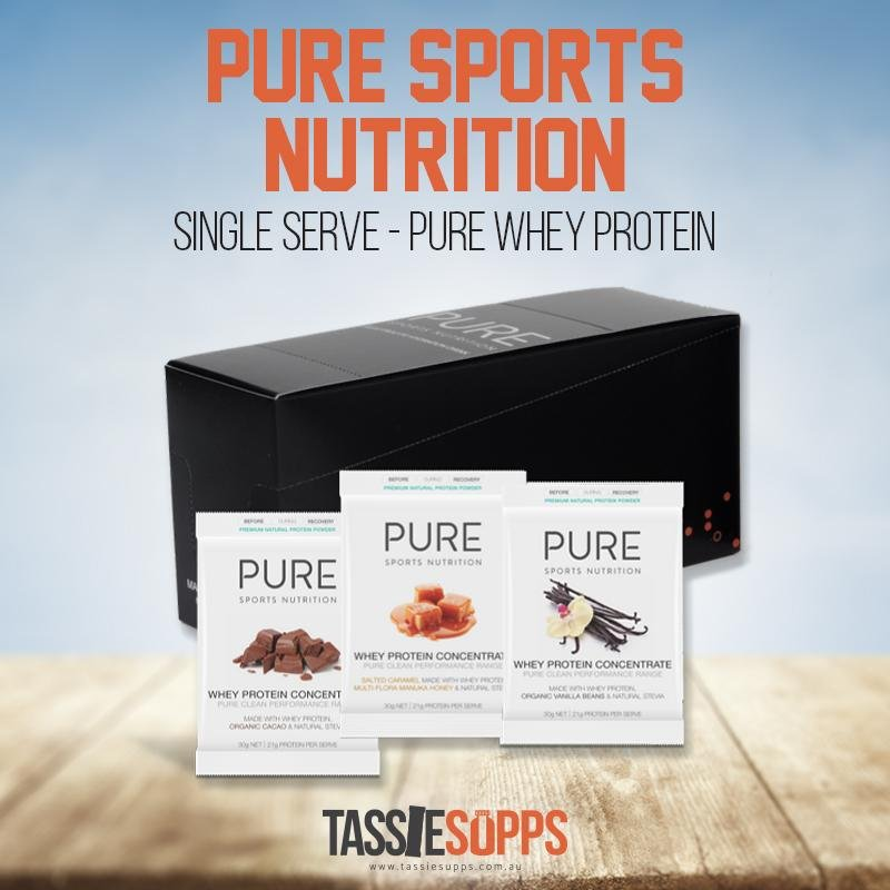 SINGLE SERVE - PURE WHEY PROTEIN | PURE SPORTS NUTRITION - Tassie Supps - PROTEIN - DAIRY BASED
