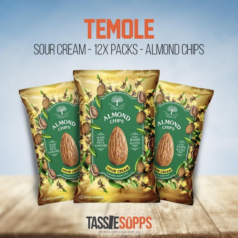 SOUR CREAM - CARTON - LOW CARB - ALMOND CHIPS | TEMOLE - Tassie Supps - Snacks