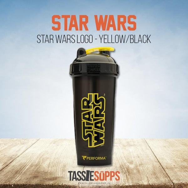 STAR WARS LOGO (YELLOW ON BLACK) - SHAKER CUP - STAR WARS | PERFECT SHAKER - Tassie Supps - Shakers / Bottles