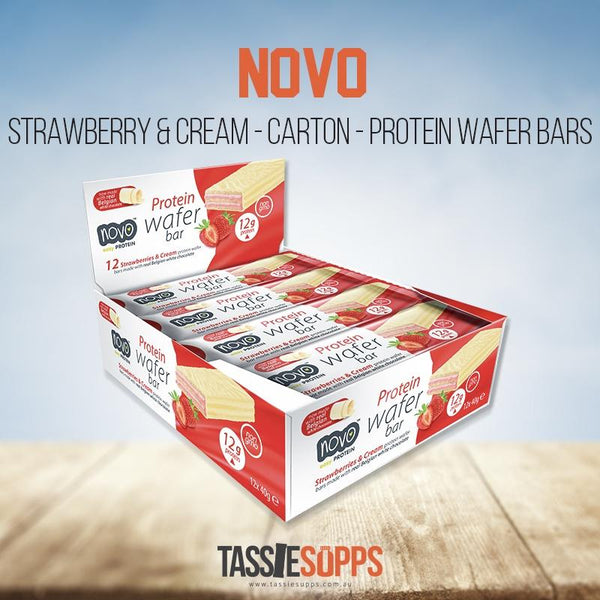 STRAWBERRY & CREAM - CARTON - 12X PROTEIN WAFER BARS | NOVO - Tassie Supps - Snacks