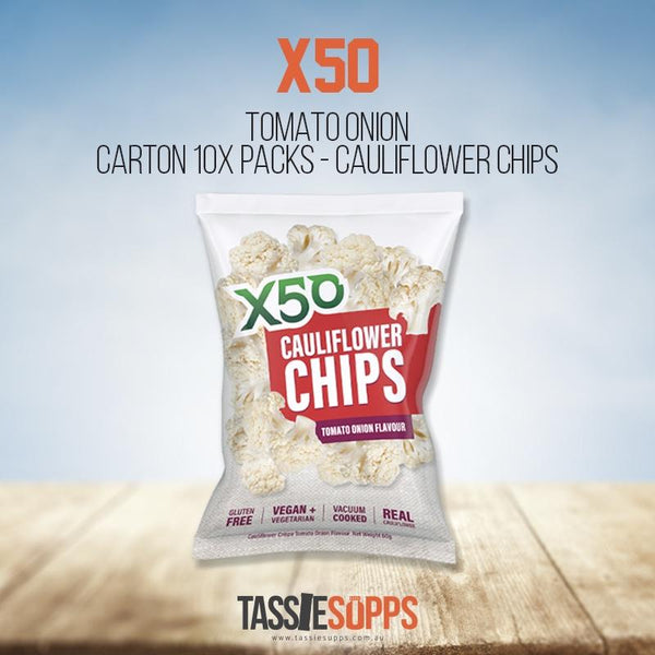 TOMATO ONION - CARTON 10x PACKS CAULIFLOWER CHIPS | X50 - Tassie Supps - Snacks
