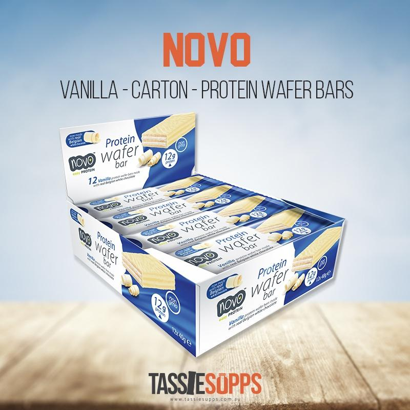 VANILLA - CARTON - 12X PROTEIN WAFER BARS | NOVO - Tassie Supps - Snacks