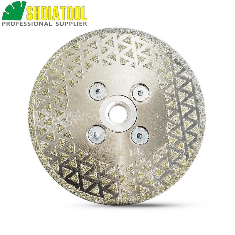 "SHDIATOOL 1pc Electroplated diamond cutting grinding disc M14 flange Single side coated saw blade granite marble 4"" 4.5"" 5"""